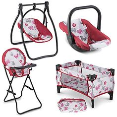 Buy Litti Pritti 4 Piece Set Baby Doll Accessories - Includes Baby Doll Swing, Baby Doll High Chair, Doll Pack N Play, Baby Doll Carrier – 18 inch Doll Accessories for 3 Year Old Girls and Up Baby Doll Car Seat, Baby Doll Crib, Baby Doll Set, Reborn Baby Dolls, American Girl, Portable Baby Swing, Baby Doll Furniture, Doll High Chair, Baby Doll Carrier
