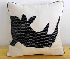 Standard 45x45cm scatter cushion cover made from natural bull denim with rhino head silhouette applique