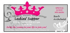 Ladies, on Friday, October 25th, we will be having a Night with the King at 6pm with special guest Barb Archibald from Truro, NS. $6.50 Truro, Guest Speakers, October 25, Special Guest, Special Events, Friday, Faith, Posters, Invitations
