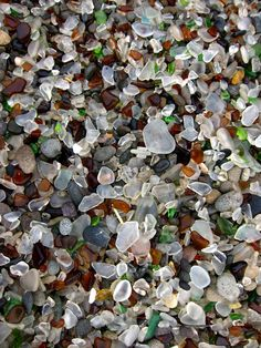 In MacKerricher State Park, near the city of Fort Bragg in northern California, you will find a beach littered with glass. Over decades of crashing waves the glass has been smoothed and rounded, transforming the shoreline into a colourful palette of pebble-like glass and sand.