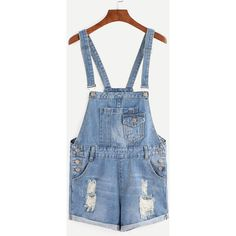 Blue Ripped Overalls Short Dungarees ($18) ❤ liked on Polyvore featuring jumpsuits, rompers, blue, denim rompers, short overalls, blue rompers, long-sleeve rompers and sleeveless rompers