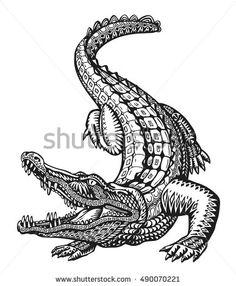 Crocodile Hand drawn ethnic patterns Alligator vector image on VectorStock Alligator Tattoo, Animal Sketches, Animal Drawings, Krokodil Tattoo, Crocodile Illustration, Minimal Tattoo Design, Ethnic Patterns, Future Tattoos, Traditional Tattoo