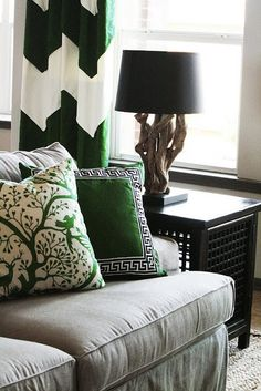 Or could do something like this.... Warm grey on the walls with cream and grass green accents.... Decisions decisions.
