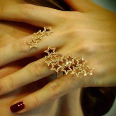 """Shooting Stars"" Champagne Diamond Two Finger Ring - Plukka - Shop Fine Jewelry Online"