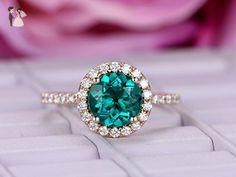 Round Emerald Engagement Ring Moissanite Wedding 14k Yellow Gold 8mm - Wedding and engagement rings (*Amazon Partner-Link)