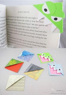 Origami monster bookmarks.  Made these with the kids tonight.  So cute and easy.  Love a craft when I already have everything in the house to make it!  I bet we could make Star Wars themed ones for camp! Cute Crafts, Crafts To Do, Diy Crafts, Arts And Crafts, Crafts For Kids, Summer Crafts, Sharpie Crafts, Cute Bookmarks, Corner Bookmarks
