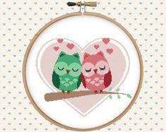 Love owl cross stitch pattern pdf  instant por GentleFeather
