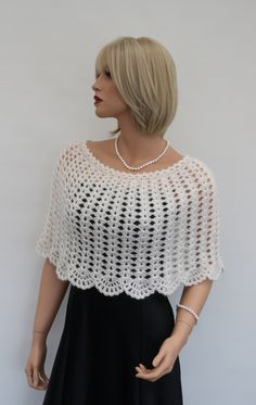Crochet Ivory colour Shrug, Mohair Women's Shawl - Wrap - Poncho - Shrug, size I knit to order. This Shawl - Wrap - Poncho measurements: Length - about 35 cm / 14 inches.Wedding Bolero – Crochet Ivory colour Mohair Cashmire Shrug Poncho – a uniqu Poncho Crochet, Crochet Scarves, Crochet Clothes, Crochet Baby, Knit Crochet, Poncho Shawl, Crochet Circle Vest, Bolero Crochet, Crochet Collar