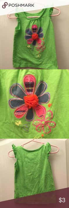🎄Children's Place Tank Green tank with flower 🎄Add as a free item to any 2+ item bundle worth $16 or more🎄 Children's Place Shirts & Tops Tank Tops