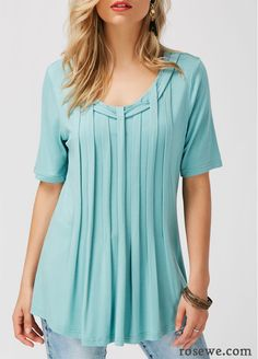 Pleated Short Sleeve Solid Blue Blouse, scoop neck fashion casual blouse, soft fabric and affordable price, don't wait.