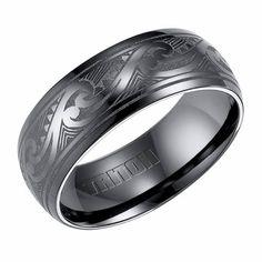 Triton 8mm Black Titanium Ring with Wave Engravings
