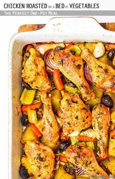 Chicken Roasted on a Bed of Vegetables | 30 Tasty Recipes for Early Fall