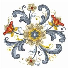 Rosemaling Circle embroidery design