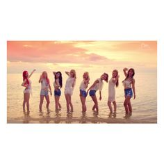 Girls' Generation, Girl's Day and SISTAR's summer comeback looks ❤ liked on Polyvore featuring snsd and kpop