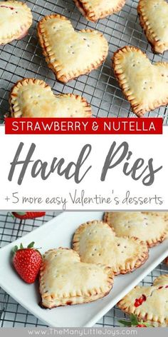 Strawberry Nutella Heart-shaped Hand Pies Need an easy Valentine's dessert that is sure to wow your sweetheart (and make your kids smile)? These strawberry Nutella heart-shaped hand pies come together quickly and taste decadent. Smores Dessert, Potluck Desserts, Valentine Desserts, Easy Desserts, Delicious Desserts, Yummy Food, Quick Dessert, Dessert Healthy, Nutella Fudge