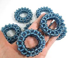 Blue Beaded Napkin Rings, Set of 8, Glass beads, tableware, housewares, home decor, napkin holders, vintage napkin  rings   vintage   napkin rings   etsy   tableware  THIS ITEM SOLD