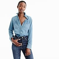 Shop J.Crew for the Tall everyday chambray shirt for Women. Find the best selection of Women Shirts & Tops available in-stores and online. Cool Sleeves, Tomboy Chic, Cashmere Poncho, Crew Clothing, Button Up Shirts, Women's Shirts, Perfect Wardrobe, Summer Essentials, Chambray
