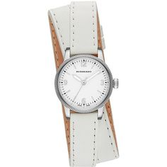 Burberry 30mm Round Stainless Watch with Double-Wrap White Leather... ($320) ❤ liked on Polyvore featuring jewelry, watches, white, buckle jewelry, round dial watches, white wrist watch, leather strap watches and white dial watches