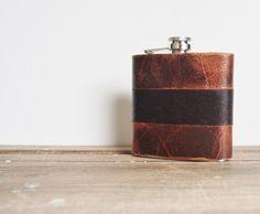 Rust & Peat  Custom Leather Flask  Rugged Strips genuine von HORD