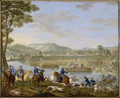 Jean Baptiste Oudry, Hunt scene with Louis XVI and Marie-Antoinette, 1779, soft-paste porcelain, 39 x 49 cm (Versailles)