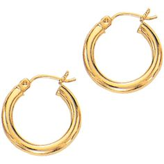 14K Yellow Gold 3x15mm (0.12x0.59) Polished Round Tube Hoop Fancy... (£87) ❤ liked on Polyvore featuring jewelry, earrings, 14k gold jewelry, yellow gold earrings, gold jewellery, 14k jewelry and earrings jewelry