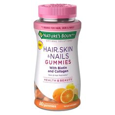 Optimal Solutions Hair, Skin, & Nail Health with Biotin & Collagen Dietary Supplement Gummies - Orange - : Target Biotin, Healthy Nails, Healthy Skin, Hair Skin Nails Gummies, Hair Gummies, Skin Shine, Vitamins For Women, Orange, Hair Care