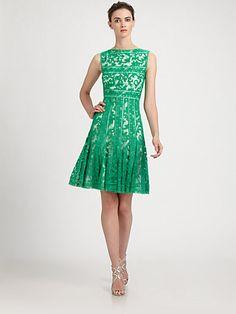 Bridesmaid - green Tadashi Shoji - Embroidered Boatneck Dress - Saks.com