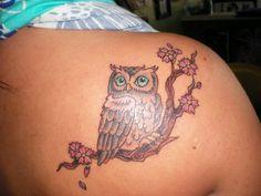 Owl Tattoo Design for Female Back Shoulder