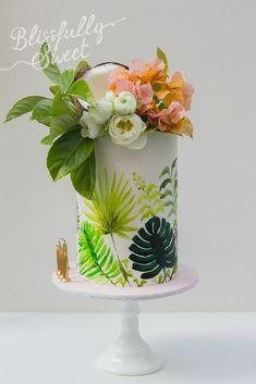 Tropical Theme 🌴 by Blissfully Sweet :) Gorgeous Cakes, Pretty Cakes, Cute Cakes, Amazing Cakes, Hawaii Cake, Bolo Youtube, Strawberry Vanilla Cake, Island Cake, Pig Birthday Cakes