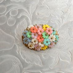 Celluloid Flower Brooch  1930s Pastel Wired Floral by pinguim, $46.00