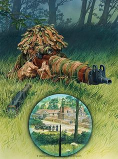British/Commonwealth Sniper in Normandy i. They eliminated targets from a distance ii. Sows the weapons and outfit of a British sniper Military Life, Military Art, Military History, British Uniforms, Ww2 Uniforms, Military Drawings, British Armed Forces, Panzer, British Army
