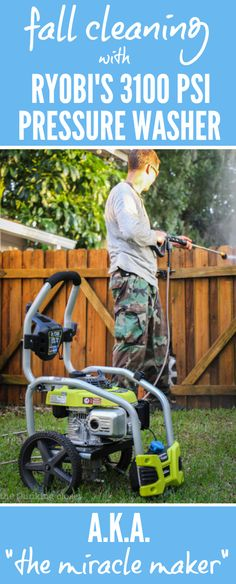 """Fall Cleaning with RYOBI's PSI 3100 Pressure Washer a.k.a. """"The Miracle Maker""""   Check out these incredible """"before, during, and after"""" photos and Instagram videos of the pressure washer in action. Goodbye grime and mold!  Hello fresh, clean dock, pavers, and fence!"""