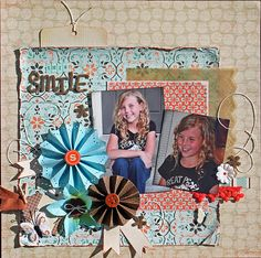 rosettes, distressing, fibers, buttons, butterflies, pattern papers, love the embellies