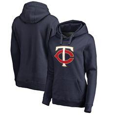 Minnesota Twins Women's Plus Sizes Primary Logo Pullover Hoodie - Navy - $64.99