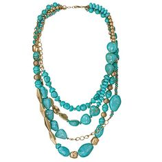 The look of turquoise is a summertime essential that will never go out of style! Burnished brass multi-layer necklace with turquoise blue faux stones and gold colored beads. Regularly $19.99, shop Avon Jewelry online at http://eseagren.avonrepresentative.com