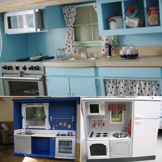 play kitchen out of entertainment center - Google Search