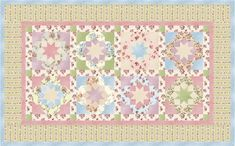 Flower Field Runner designed by Robert Kaufman Fabrics. Features Emma, shipping to stores August 2016. FREE pattern will be available to download from robertkaufman.com in June 2016. #FREEatrobertkaufmandotcom