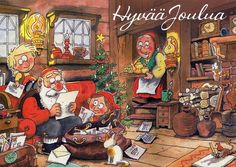 Merry Christmas = Hyvää Joulua by Mauri Kunnas, Finland Christmas Clipart, Vintage Christmas Cards, Christmas Images, Christmas Art, Christmas Stuff, Finland Culture, Have A Happy Holiday, Retro Images, Winter Magic