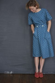 Dress in Mrs. Wilberforce Petrol Blue