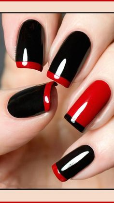 Gel Shellac Nails, French Manicure Acrylic Nails, Shellac Nail Colors, Deep Red Nails, Red And White Nails, White Tip Nails, Red Summer Nails, Gel Nail Art Designs, Pretty Nail Colors