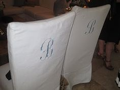 Monogrammed Dining Chair Slipcovers