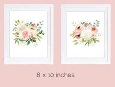 Set of 2 Prints, Floral Nursery Wall Art, 8 x 10 inches, Rose Prints, Watercolor Florals, PRINTABLE NURSERY ART, Ivory Roses, Blush Roses