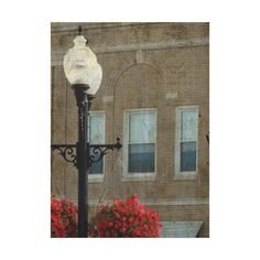 Light Post and Flowers in Washington, Iowa Premium Wrapped Canvas