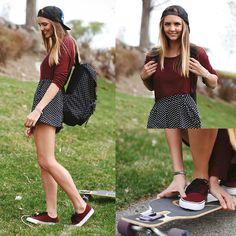 Herschel Polka Dot Backpack, Topshop Polka Dot Shorts, Airwalk Maroon Lace Ups, Brandy Melville Maroon Sweater