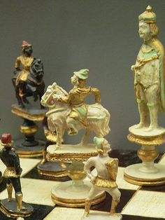 La Renaissance painted and gilded wood chess set depicting the conflict between the Italians and the Moors Italy 1965