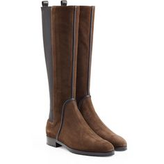Sergio Rossi Suede Knee Boots (2.025 RON) ❤ liked on Polyvore featuring shoes, boots, brown, brown low heel boots, brown suede knee high boots, knee boots, suede knee-high boots and round cap