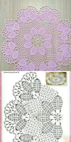 Free Crochet Doily Patterns, Crochet Doily Diagram, Filet Crochet Charts, Crochet Flower Tutorial, Thread Crochet, Crochet Crafts, Crochet Dollies, Crochet Decoration, Crochet Tablecloth