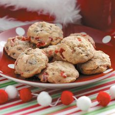 Taste of Home's Cookie Countdown: Cherry Chocolate Nut Cookies! Sybil Brown of Highland, California makes about 600 cookies to share each Christmas. She says that the holidays wouldn't be the same without several batches of these colorful goodies. Cherry Recipes, Fruit Recipes, Dessert Recipes, Cookie Desserts, Just Desserts, Cookie Recipes, Cookie Bars, Holiday Baking, Christmas Baking