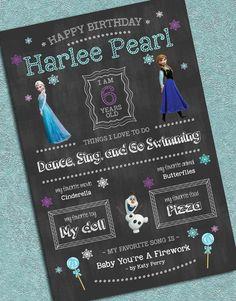 Disney's Frozen Customized Birthday Chalkboard Poster Digital Print 20x30
