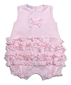 Look at this #zulilyfind! Hug Me First Pink Ruffle Pima Romper - Infant by Hug Me First #zulilyfinds